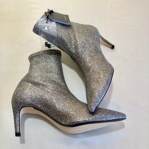 Zara Boots Silver Glitter Ankle Boots
